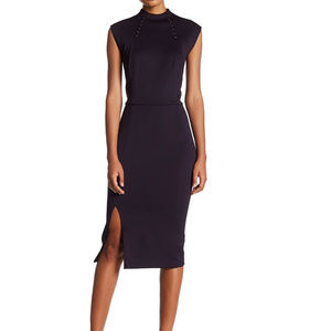 SL Fashions Missy Front Slit High Neck Midi Dress